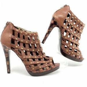 EUC Baby Phat Leather, studded peep toe platform